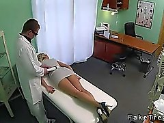 Blonde hottie fucked by doctor in fake hospital