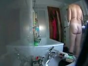 spying mothers sexy ass in the bathroom