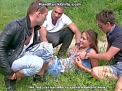 Outdoor hardcore sex with a cute girl