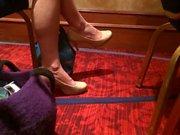 candid heels dangling sexy legs of Melanie en reunion
