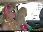 Hot Babes Flash Tits In The Car