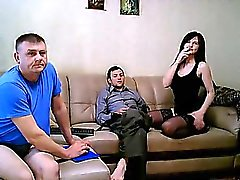 Two cocks are taken by brunette bitch at same period in her