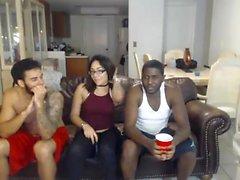 Hot Interracial Threesome On Webcam Show