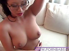 Asian PornbabeTyra having fun with big dildo