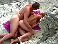 Voyeur on public beach sex in the mountains