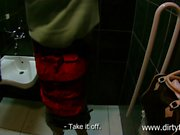 POV fucked amateur drilled in public bathroom