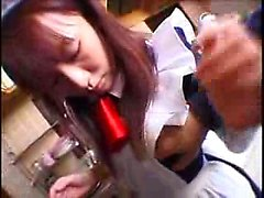 Pigtailed Oriental bunny milks a raging stick with her lusc