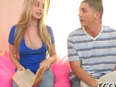 Lively blonde teen pleasuring her boyfriend