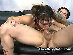 Brunette Amateur Getting Destroyed In A Very Rough Threesome
