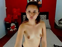 Teen uses dildo in solo