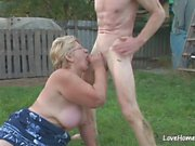 Granny enjoys a cumshot after passionate outdoor fucking.mp4