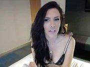 Beautiful brunette babe masturbating solo