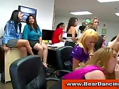 Secretaries suck male strippers at office cfnm party