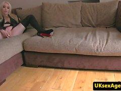 British lingerie amateur rides casting agent