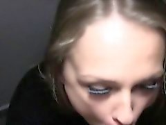 Hot blonde fucks in dark public stairwell