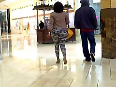 Phat Ass In Printed Tights And High Heels...