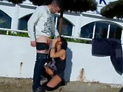 Dirty slut with chains & tattoos scream when stranger fuck her ass public