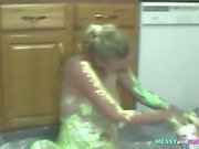 Kinky Blonde Likes Playing With Food