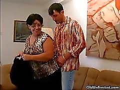 Horny grandma sucking a lucky young guy part3