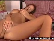 Busty amateur Weny playing her pussy with her sticky fingers