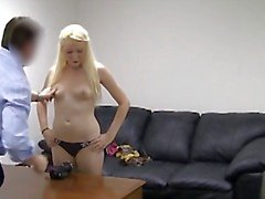 Blonde babe gets ass fucked on casting