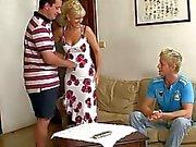 Mom seduces his GF into threesome