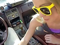 Blonde sucking inside her car
