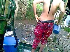 Desi Village Girl with Big Tits Taking Bath in Public