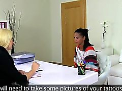 Lesbian casting agent licking out ebony pussy