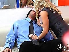 Two horny secretaries love blowing the big boss