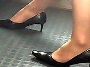 Stunning legs in sneakers high heel shoes in practice 11