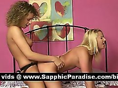 Naughty lesbos toying pussy with a strapon and having lesbo love