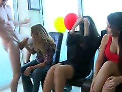 Amateur babes deepthroat at party