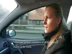 Naughty blonde newbie takes cash for sucking and fucking in the car