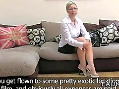 Busty British amateur babe on casting couch goes oral