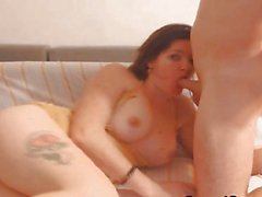 Hot MILF sucks cock