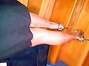 wife in pantyhose and high heels