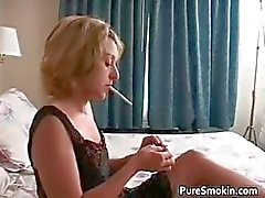 Aroused blonde hot babe smoking part1