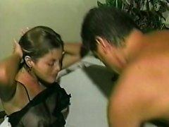Sexy brunette blowjob and licking ass