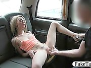 Slim blond likes it rough in back of cab for a free fare