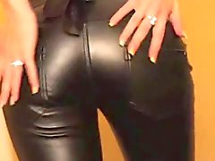 Cum on leather pants