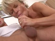 Slutty blonde MILF lays back to get her muff slammed