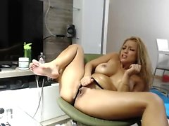 Dirty Talking Blonde MILF Toying DP