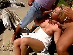 Nude Beach - Hot DP Threesomes on the Shore