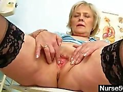 Blonde granny is a horny nurse at 50