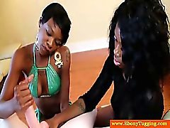 Amateur ebony nubians are jerking a white cock