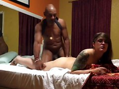 Hot interracial fellatio leads to a doggystyle hammering