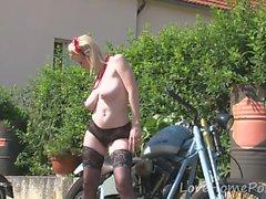 Her boyfriend's bike made her very horny