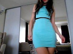 Hottest Amateur Brunette 19yo Teen rides her dildo on Webcam