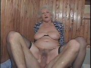 Hot and slutty granny fucks young big cock